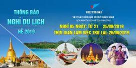 Việt thái thông báo nghỉ du lịch hè 2019